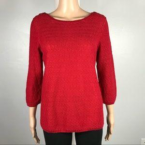 CHRISTOPHER & BANKS Medium Red 3/4 Sleeve Sweater